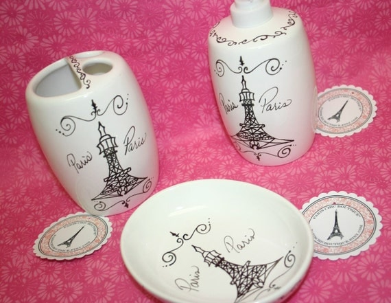 Paris themed bathroom accessories soap dish by for French themed bathroom