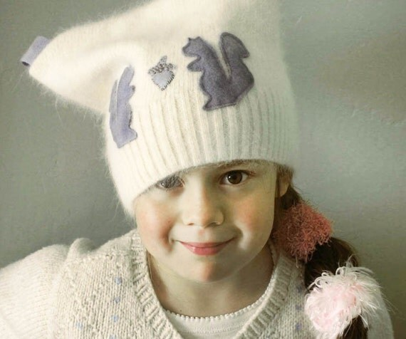 Squirrel Love Soft n Fuzzy Angora Hat  Kids and Adults ONE SIZE Donation to Japan