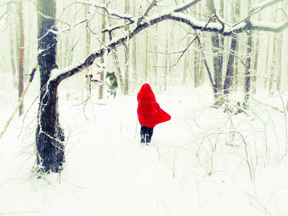 Red Riding Hood, The Wolf, Red, Winter, White Natural Snow, Stormy, Woods,Soft Contrast, Portrait, Cape,Trees,Snow,illustration, fpoe