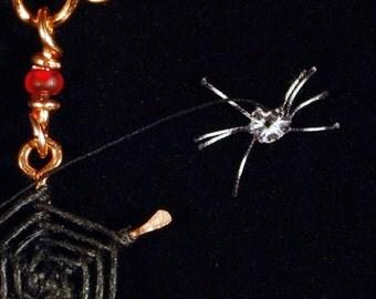 Spider Season Web Necklace Forged Lashed Swarovski Red Aranea Spiderweb Sparkle