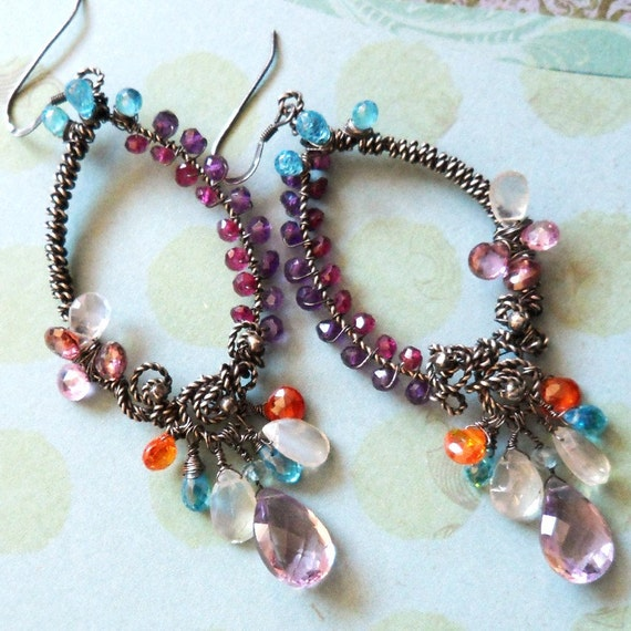 Cocktails and Sequins - Sterling silver Gemstone Chandelier Earrings