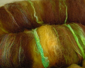 SALE buy 3 get 1 free 4 oz. merino wool silk alpaca firestar hand dyed carded batt TIGER EYE