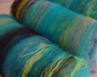 Art batt SALE 4 oz. hand dyed wool alpaca silk firestar MOONSTRUCK