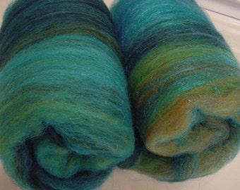 Art batt SALE 4 oz. wool firestar hand dyed batt PEACOCK