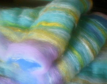Art batt SALE 4 oz. merino alpaca silk firestar hand dyed VALLEY FOG