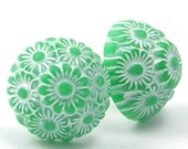 Green Flower Cluster - Vintage Flowers - Surgical Steel Posts E168