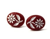 Flower Earrings - Vintage Glass (Red) Surgical Steel Posts E155