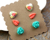 Flower Earrings Post Set Turquoise Rose, Coral Leaves, and Heart Rose Gardens Surgical Steel E046