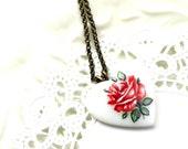 Floral Heart Necklace Red Rose Vintage Glass Antiqued Brass N024 SALE