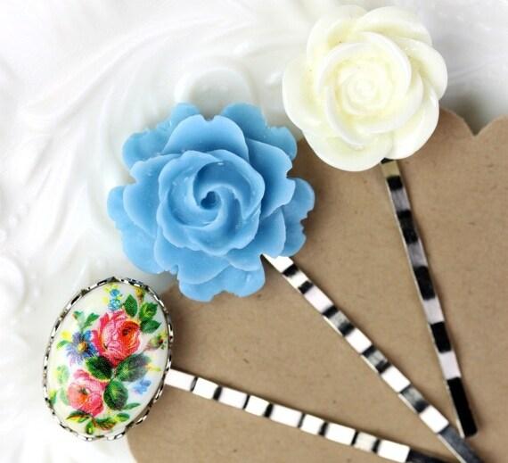 Bobby Pins Flowers - Vintage Tea Party Bouquet Set