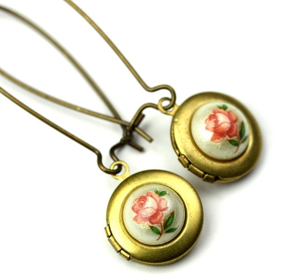 Earrings Little Lockets and Floral Cameos Pink Roses and Brass E025