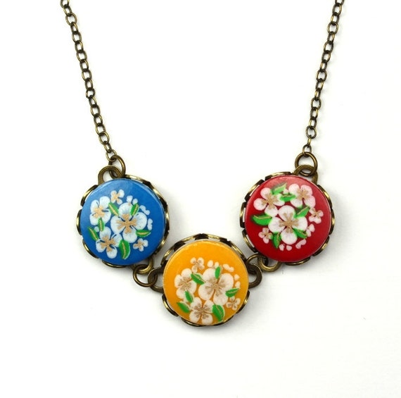 Colorful Floral Patterns Flower Necklace Antiqued Brass Yellow Blue Red Vintage Plastic OOAK N027