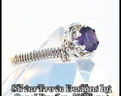 Dark Amethyst Ring Sterling Silver Any Size February Birthstone Wire Sculpted Solitaire