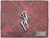 Intial Pendant Personalized Sterling Silver Calligraphy Script 3 Initial Necklace With Optional Birthstone Charm and Chain by SilverTrove