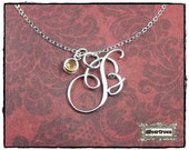 Personalized Necklace Cursive Initial Necklace Pendant Sterling Silver Calligraphy Script 3 Sizes With Birthstone Charm and Chain Alphabet