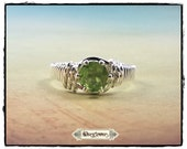 Peridot Ring, Sterling Silver Ring, August Birthstone Ring, Wire Wrapped Ring, Round Peridot Ring, Prong-Set Gemstone Ring, Custom Made Ring