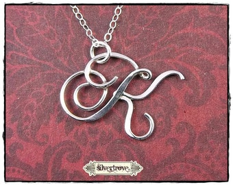 Sterling Silver Initial Pendant, Personalized Necklace, Calligraphy Script Initial Pendant, Alphabet Charm Necklace, Initial Necklace