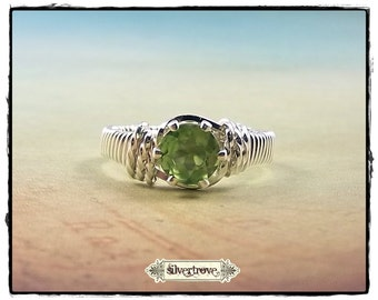 Peridot Ring Sterling Silver Ring Any Size August Birthstone Ring Wire Wrapped Ring Round Prong-Set Gemstone Ring