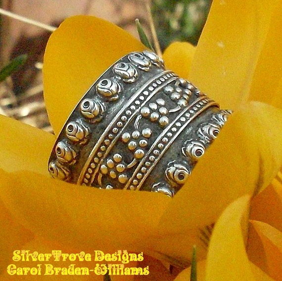 Sterling Silver Wide Band Ring Wedding Ring Cigar Band Wedding Band Roses and Grapes by SilverTrove