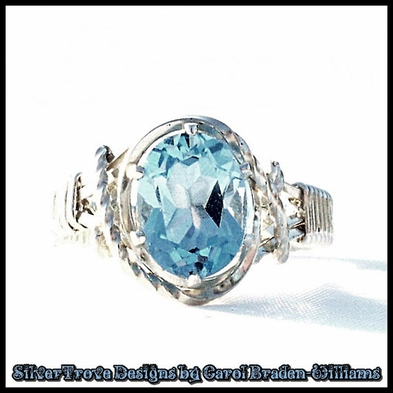 Sterling Silver Swiss Blue Topaz Ring in Any Size Wire Sculpted 6 CT Oval Gemstone