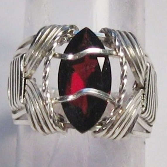 Garnet Ring Size 5 Ring Sterling Silver Ring Marquise Cut Garnet Ring Wire Wrapped Ring Argentium Tarnish Resistant Ring IN STOCK