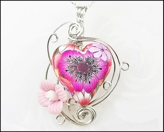 Reserved for Jaymee52- Sterling Silver Polymer Clay Porcelain Wire Sculpted Pendant- 'Blossoms of Joy'