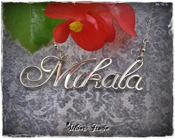 Sterling Silver Name Necklace Personalized Jewelry Custom Name Wire Name Calligraphy necklace Script Name necklace Name Jewelry Silver Name