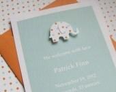 boy baby shower invitation  - handmade seafoam and orange dot elephant on seafoam stock