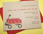 First Birthday Invitation, Wagon