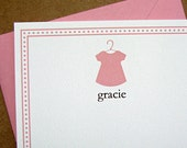 girls baby shower thank you note card blossom pink dress, textured, recycled cardstock,  - set of 16
