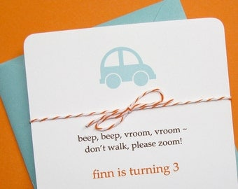 Divine Twine First 1st Birthday Invitation, Pool toy car First Birthday Invitations
