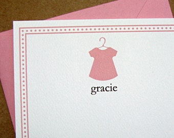 baby girl shift dress baby shower thank you cards, girl shift dress baby shower thank you notes, handmade baby shower thank you cards
