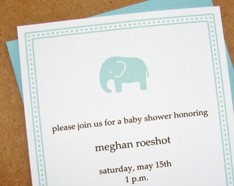 Pool Baby Elephant Baby Shower Invitations - Textured Baby Shower Invitations - Recycled Baby Shower Invitations