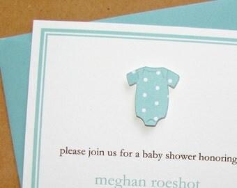 Baby Shower Invitation Boy Pool Dot Onesie
