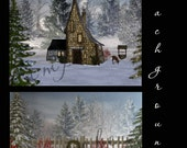 Winter Backgrounds, Photoshop Backdrops, Snow, Red Birds, 2D, Christmas cards, Christmas Backgrounds