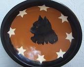 Wooden Bowl Hand Painted Primitive Black Cat Original Folk Art Stars and Cat Fall Autumn Halloween TREASURY ITEM
