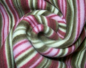 Brown & Pink Stripe Fleece Fabric