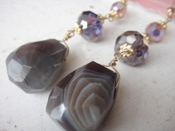 Isla Earrings, Botswana Agate, Purple Crystal, Vermeil, 14K Gold Fill