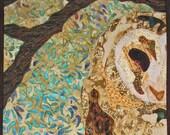 Barn Owl Fabric Art - Handmade Art Quilt, Wall Hanging Textile Art