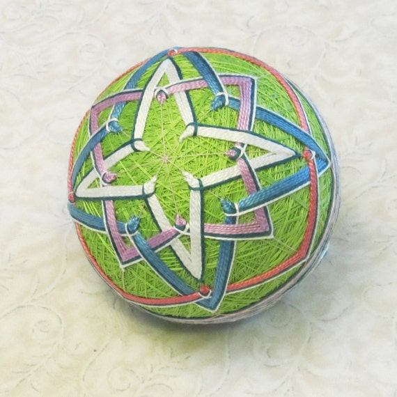 Temari ornament japanese embroidered ball decoration in easter