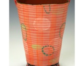 A Simple Vase, Flower Bucket, Orange and Red Stripes.  Handmade by Nancy Gardner.
