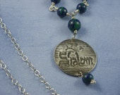 RESERVED -- Shalom Azurite and Sterling Silver Dove Pendant by Beadique TM