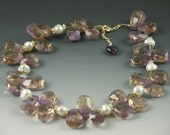 Elegance Ametrine and 24kt Vermeil Necklace with 14kt GF adjustable clasp