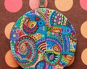 funky abstract - round pendant