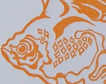 Winged Orange Goldfish Card with Green Envelope