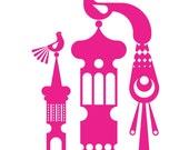 Pink Folk Art Inspired Birds Signed Edition of 50 Original Art Print