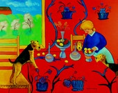 "Airedale Terrier Giclee Fine Art Print by Dog Art by Lyn ""Harmony in Red Kitchen"""