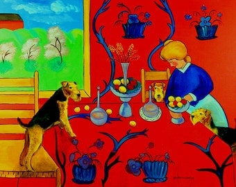 """Airedale Terrier Giclee Fine Art Print by Dog Art by Lyn """"Harmony in Red Kitchen"""""""