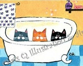 Three Cats in the Bathtub - PRINT of an original painting by Chris Q Illustration and Art