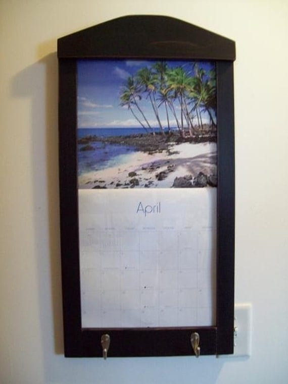 Calendar Wood Holder : Wood framed perpetual calendar holder
